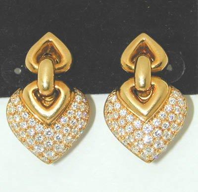 8: 8: 8: BVLGARI 18K Yellow Gold Diamond Earrings