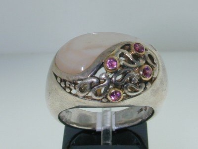 10: BJC Silver & 18k Yellow Gold Shell / Sapphire Ring,
