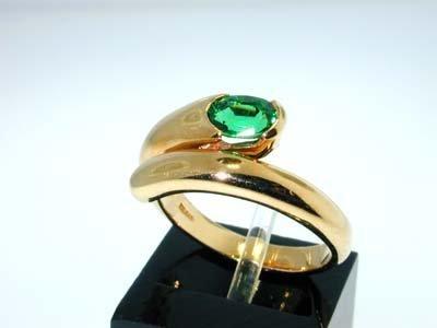 16: 16: Bvlgari 18K Yellow Gold Emerald Ring