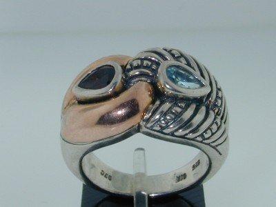 26: 26: BJC14k Gold/Silver Rhodalite Aquamarine Ring.