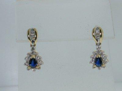 15: 10k Two-Tone Gold Sapphire & Diamond Earrings!