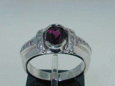 18: 10k White Gold Rhodolite,Diamond Ring