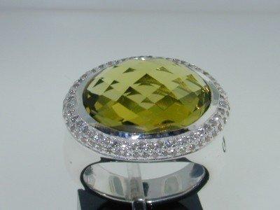 23:  David Yurman Silver Diamond Citrine Ring