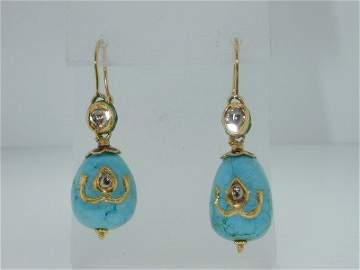 118: 118: 118: 18k Yellow Gold Turquoise Diamond Earrin