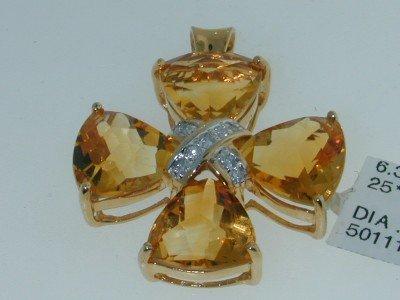 3: 14K Yellow Gold Citrine Diamond Pendant