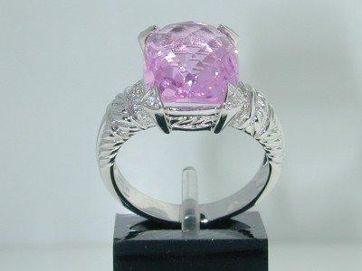 7: 14K White Gold Topaz Diamond Ring