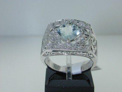 13: 14K White Gold Aquamarine,Diamond Ring