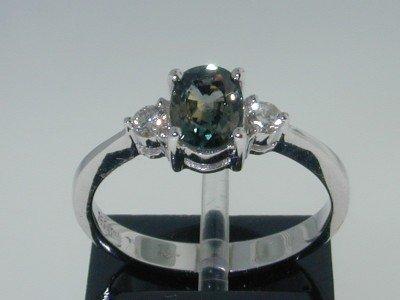 18: 14K White Gold Sapphire Diamond Ring