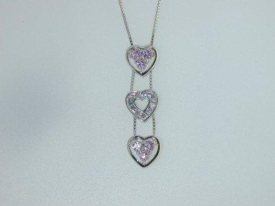 22: 14K White Gold Pink Sapphire Diamond Necklace