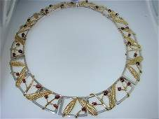 209: Tiffany & Co. Silver and 18K Yellow Gold Garnet Ne