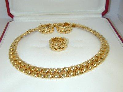 370: Cartier 18K Yellow Gold Heart Sets.