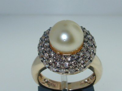 8: 8: 14k 2 Tone Gold Pearl Cognac Diamond Ring