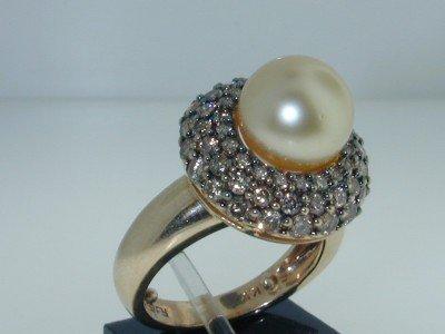 8: 8: 14k 2 Tone Gold Pearl Cognac Diamond Ring - 2