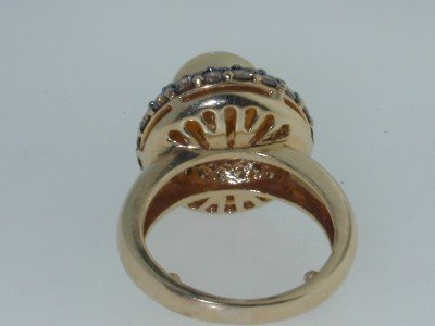 8: 8: 14k 2 Tone Gold Pearl Cognac Diamond Ring - 3
