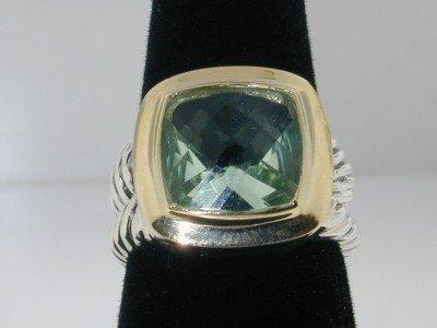 12: 12: David Yurman Silver Prasiolite Ring.