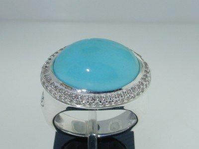 519: 519: David Yurman Silver Diamond Tourquise Ring!