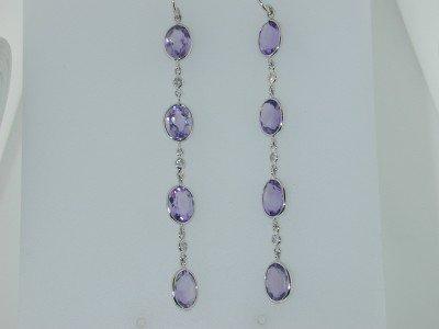 4: Laura Munder 18K White Gold Amethyst & Diamond Earri