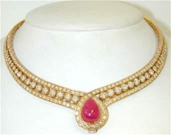 196: Van Cleef & Arpels 18k Gold Ruby& Diamond Necklace