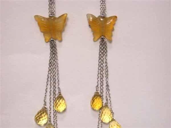 5: 18k White Gold Earrings Citrine
