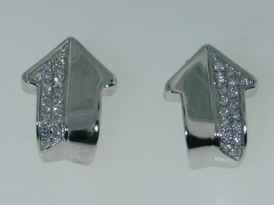 1: 1: 1: Enigma 18K White Gold Diamond Earrings