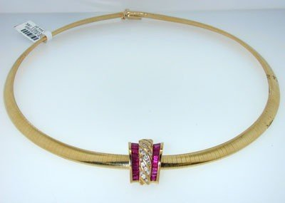 4: 4: KRYPELL 18k Yellow Gold Ruby Diamond Necklace,