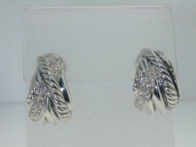 6: 6: 6: David Yurman Silver Diamond Earring