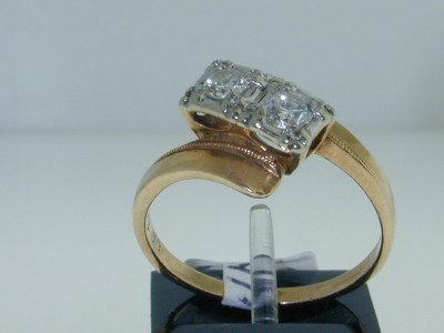 8: 8: 8: 14K 2 Toned Gold Diamond Ring.