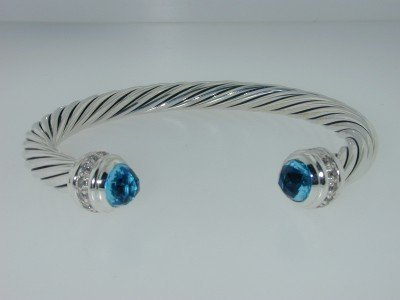 9: 9: 9: David Yurman Silver Blue Topaz & Diamond Bangl