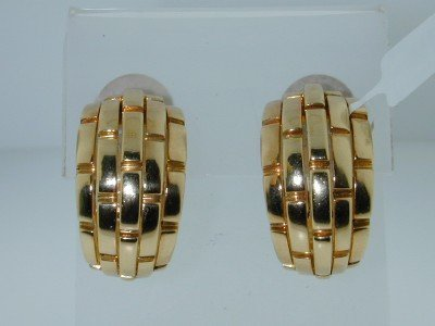 10: 10: Cartier 18K Yellow Gold Earrings.