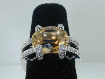 15: 15: 15: BJC 14K White Gold Citrine Diamond Ring.