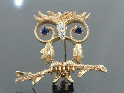 16: 16: 14K Yellow Gold Sapphire Diamond Pin !!!