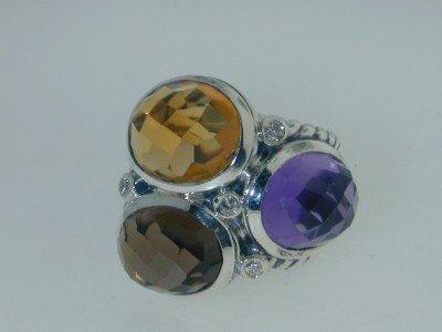 17: 17: 17: David Yurman Muti-Stone / Diamond Ring,