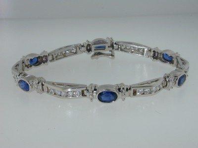 20: 20: 20: 18K White Gold Sapphire Diamond Bracelet.