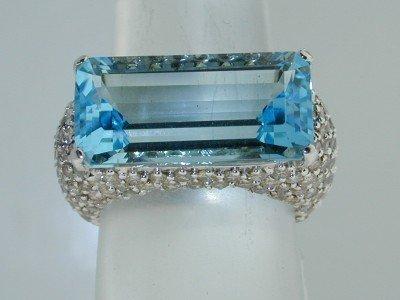 37: 37: Salavetti 18K White Gold Blue Topaz Diamond Rin