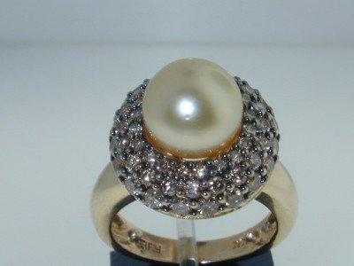 8: 14k 2 Tone Gold Pearl Cognac Diamond Ring !!