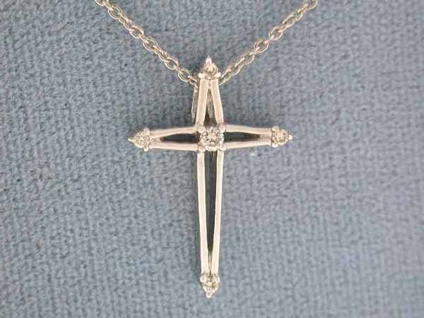 18: 14k White Gold Necklace with Cross Pendant