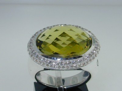 23: David Yurman Silver Diamond Citrine Ring!!