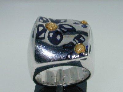 10: Menegatti Silver & 18K Gold Enamel Ring!!
