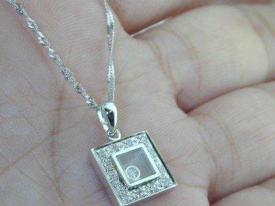 7: 14K White Gold Diamond Pendant With Chain!!