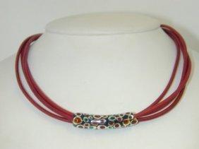 18: Silver Multi Color Plique Ajour Necklace !!
