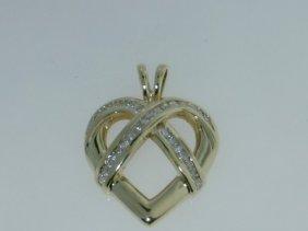 11: 10k Yellow Gold Diamond Pendant.!!