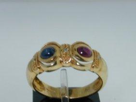 25: 18k Yellow Gold Sapphire,Ruby Diamond Ring!!