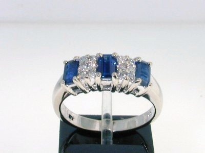 9: 14K White Gold Diamond & Sapphire Ring