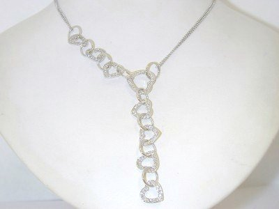 11: 14K White Gold Diamond Necklace.