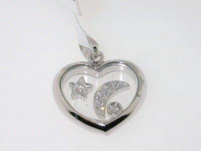 21: 14K White Gold, Heart Shape, Diamond Pendant!