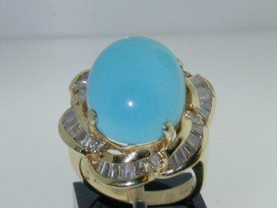 5: 14K Yellow Gold Diamond Baguette & Turquoise Ring.