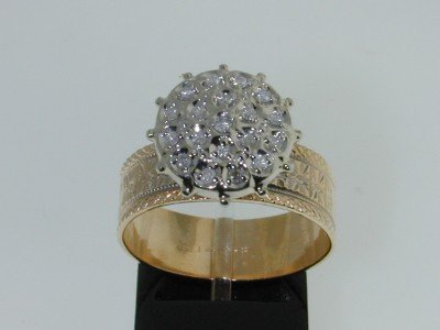 4: 14K Two-tone Gold Diamond Ring.
