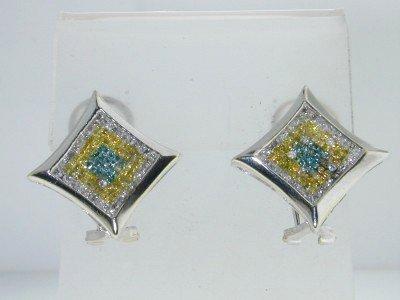 16: 14k White Gold Muti- color Diamond Earrings!!
