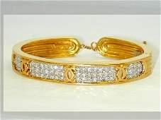 342: Cartier 18Kt Two-Tone Gold Diamond Bangle!!