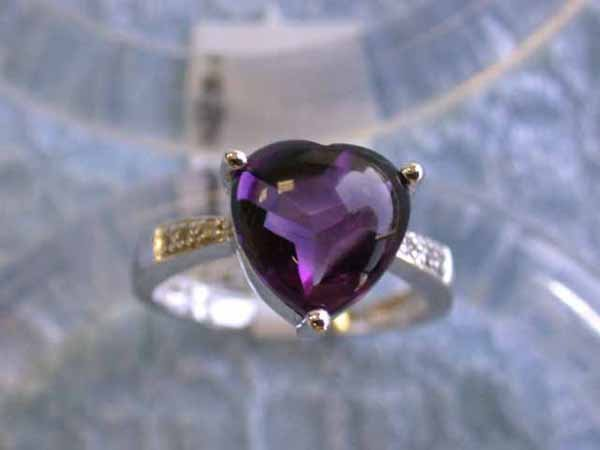 9: 14k White Gold Ring with Amethyst and Diamond !!